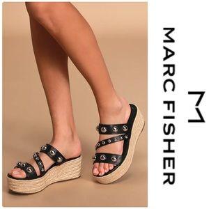Marc Fisher Jalyn Black Studded Espadrille Sandals